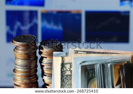 stacks of coins concept dollars euro dollar exchange rate economics - stock photo