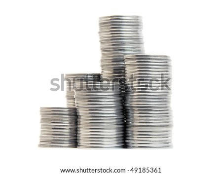 stacks of coins isolated on white - stock photo