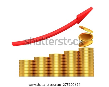 Stacks of coins on white background - stock photo