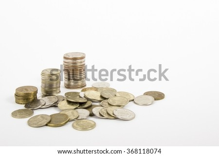 stacks of coins. The RUB of various denominations