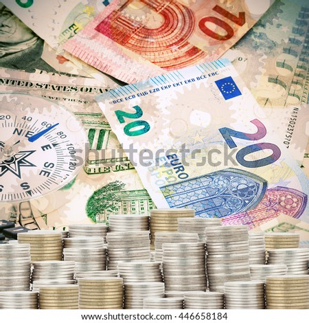 Stacks of coins with banknotes  background,Business Finance concept - stock photo