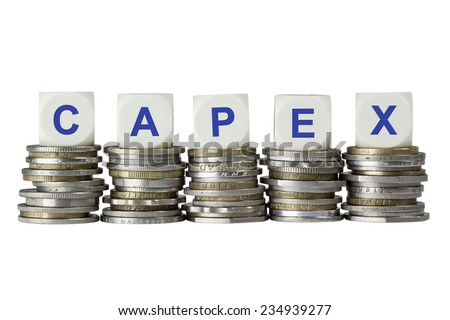 Stacks of coins with the letters CAPEX isolated on white background