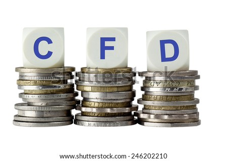 Stacks of coins with the letters CFD isolated on white background  - stock photo