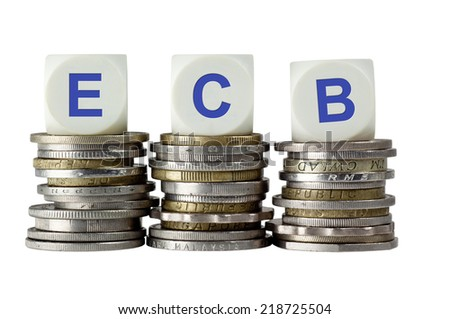 Stacks of coins with the letters ECB isolated on white background  - stock photo