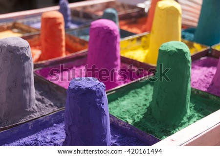 Stacks of colors used for hindu color point on the forehead - stock photo