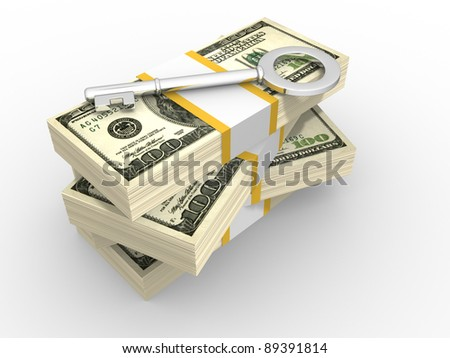 Stacks of dollars and key to success. 3d render illustration - stock photo