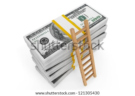 Stacks of dollars with a ladder on a white background - stock photo