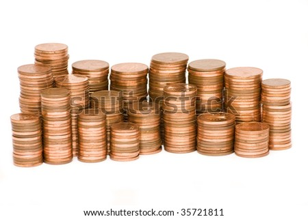 stacks of Euro cents isolated on white