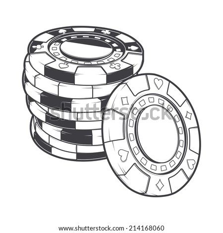 Stacks of gambling chips, casino tokens isolated on a white background. Line art. Retro design. Raster copy - stock photo