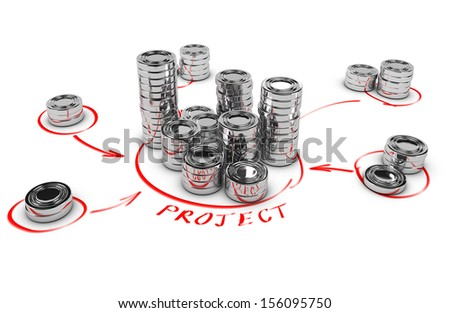 Stacks of generic coins over white background with red arrows pointing the highest pile. Conceptual 3D render for money investment or collaborative finance. - stock photo