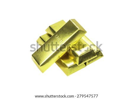 Stacks of gold bars isolated on white with clipping path