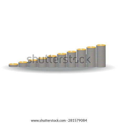 Stacks of gold coin growing on white background