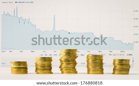 Stacks of gold coins in a row in front of graph - stock photo
