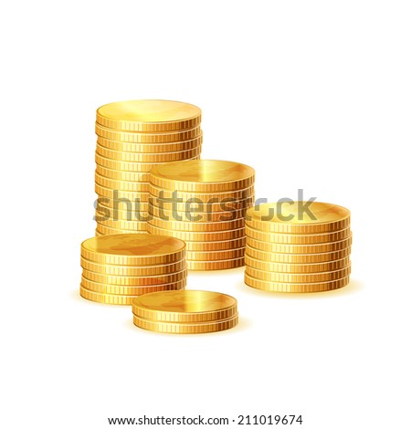 Stacks of gold coins, Raster copy. - stock photo