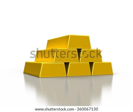 stacks of gold ingots or golden bullion bars on white background - stock photo