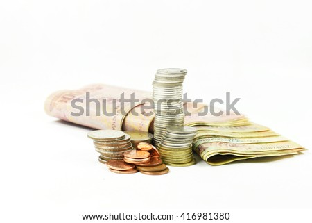 Stacks of gold,silver,copper coins and dollar note. Income and profits. Isolated on white background. - stock photo