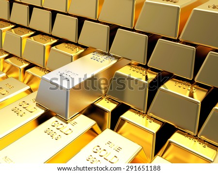Stacks of golden bars with one of silver. Business and financial background - stock photo