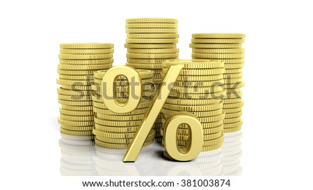 Stacks of golden coins and a percentage symbol, isolated on white background. - stock photo