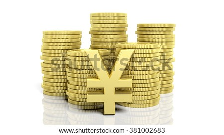 Stacks of golden coins and a Yen symbol, isolated on white background.