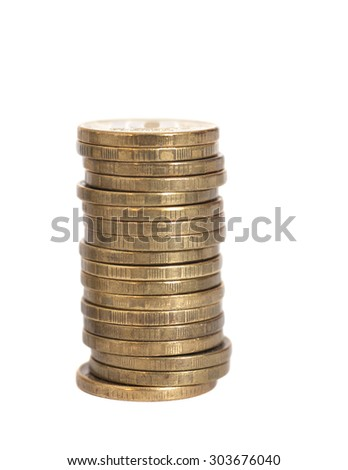 stacks of golden coins isolated on white