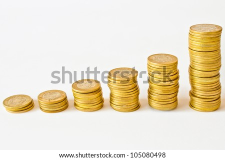 stacks of golden coins, mexican pesos money