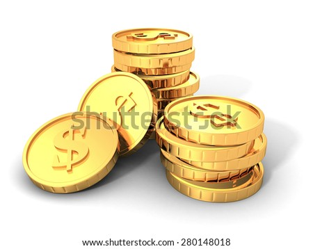 Stacks Of Golden Dollar Currency Coins. 3d Render Illustration - stock photo
