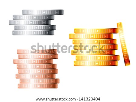 Stacks of golden, silver and bronze coins isolated on white background for finance concept design. Vector version also available in gallery - stock photo