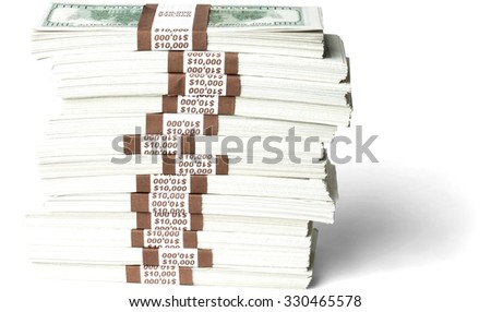 Stacks of hundred dollar bills