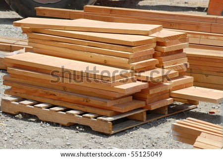 stacks of lumber - stock photo