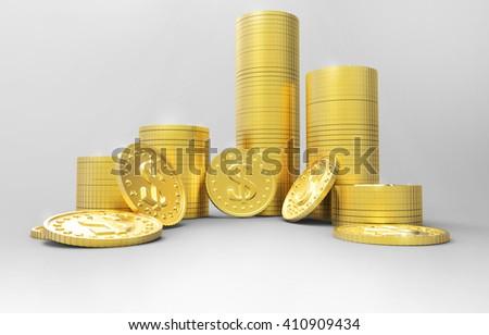Stacks of money. 3d rendering - stock photo