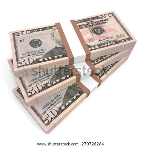 Stacks of money. Fifty dollars. 3D illustration. - stock photo