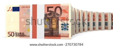 Stacks of money. Fifty euros. 3D illustration. - stock photo