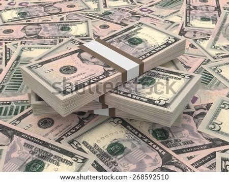 Stacks of money. Five dollars. 3D illustration. - stock photo