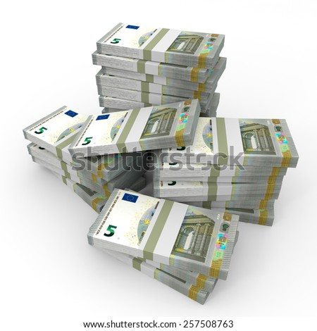 Stacks of money. Five euros. 3D illustration.