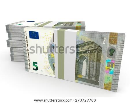 Stacks of money. Five euros. 3D illustration. - stock photo