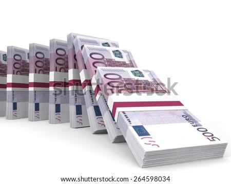 Stacks of money. Five hundred euros.  3D illustration. - stock photo