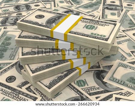 Stacks of money. One hundred dollars. 3D illustration. - stock photo