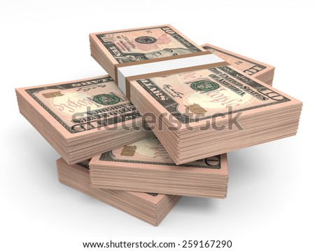 Stacks of money. Ten  dollars. 3D illustration. - stock photo