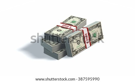 Stacks of money - Twenty dollars bills