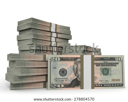 Stacks of money. Twenty dollars. 3D illustration. - stock photo