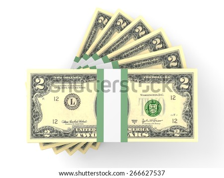 Stacks of money.  Two dollars. 3D illustration.