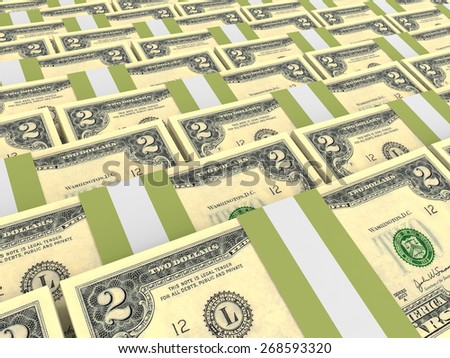 Stacks of money. Two dollars. 3D illustration. - stock photo