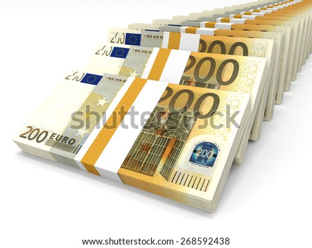 Stacks of money. Two hundred euros. 3D illustration.