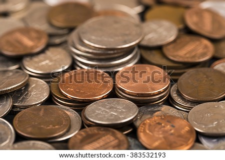 Stacks of money, usa coins of one dime,one cent