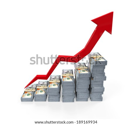 Stacks of New 100 US Dollar Banknotes Rising Graph - stock photo