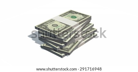 Stacks of one dollars Bills isolated on white background - stock photo