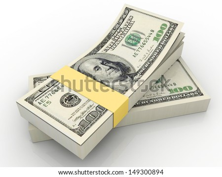 Stacks of one hundred dollars banknotes - stock photo