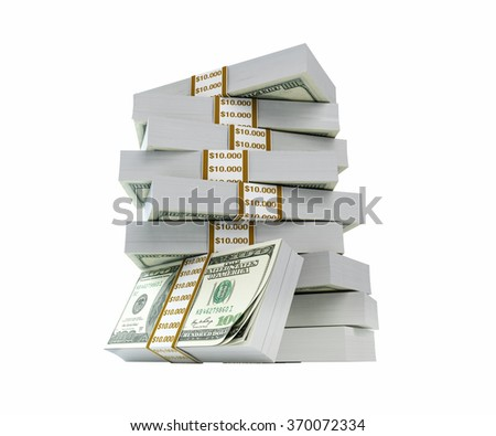 Stacks of one hundred US dollar bills are on top of each other. US dollar bill stacks are isolated on white background. Clipping path is included. - stock photo