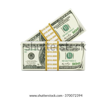 Stacks of one hundred US dollar bills pointed towards camera. US dollar bill stacks are isolated on white background. Clipping path is included. - stock photo