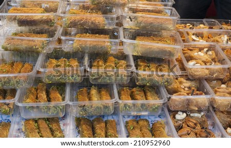 Stacks of pastries at a festival stand - stock photo